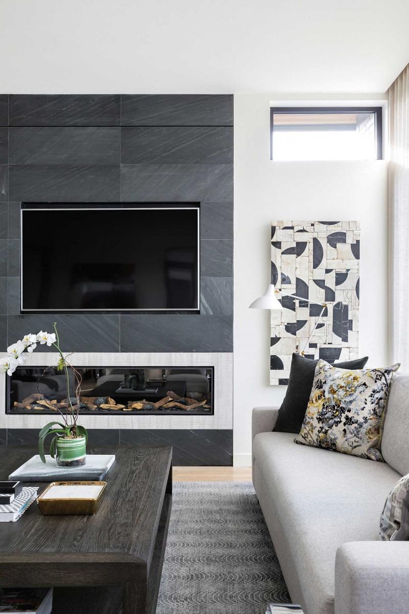 Living Room with TV Ideas: Calgary Contemporary Living Room