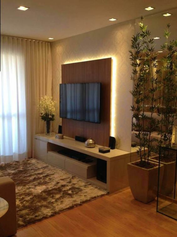 Living Room with TV Ideas: Wooden Panel