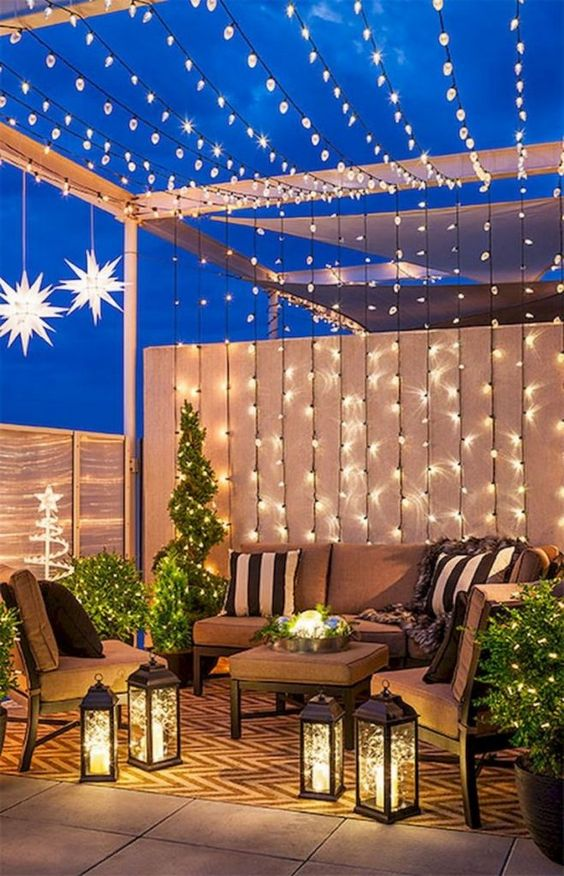 Backyard Lighting Ideas: String Lights Shade