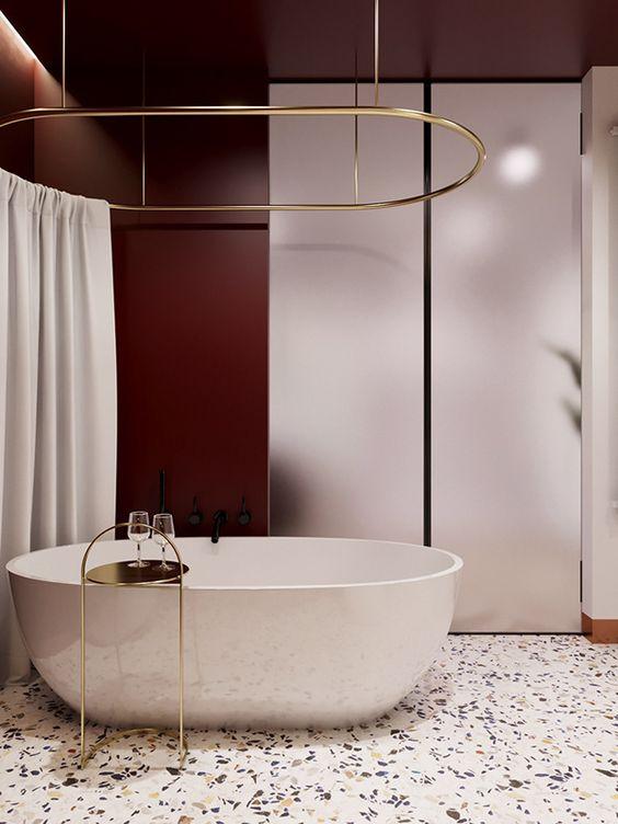 Bathroom Colors Ideas: Elegant Burgundy