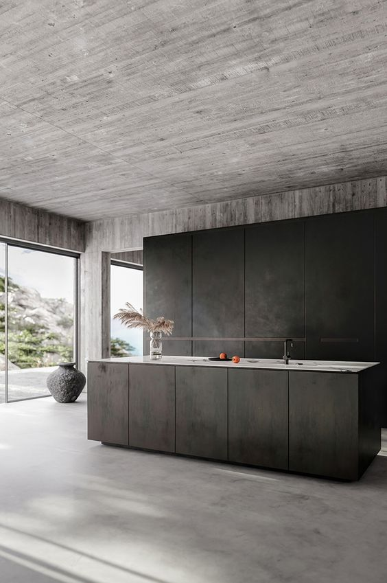 Black Kitchen Ideas: Stunning Black Concrete