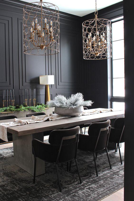 Dining Room Colors Ideas: Striking Black
