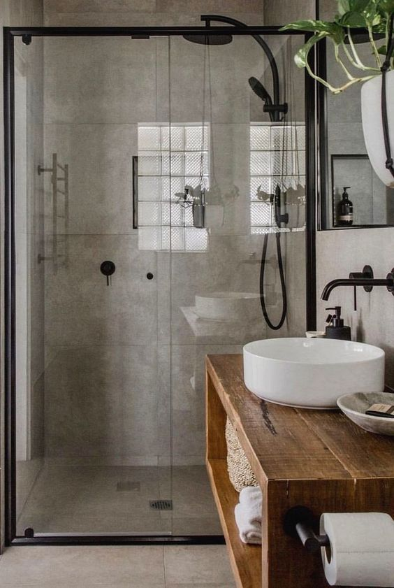 Industrial Bathroom Ideas: Simple Concrete