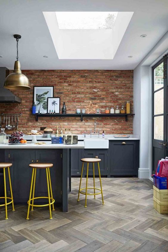Industrial Kitchen Ideas: Beautiful Exposed Brick Walls