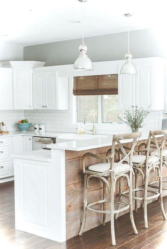 Kitchen Bar Ideas: Enchanting White Kitchen Bar