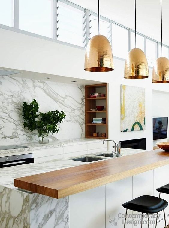 Kitchen Marble Ideas: Beautiful Rose Gold
