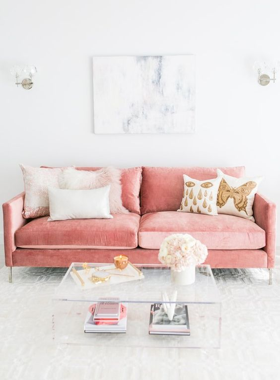 Living Room Pink Ideas: Adorable Pink Sofa