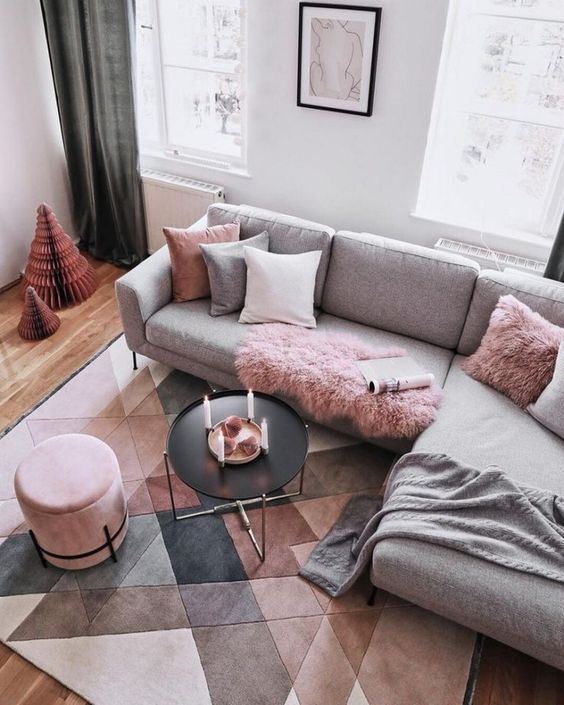 Living Room Pink Ideas: Simple Earthy Pink