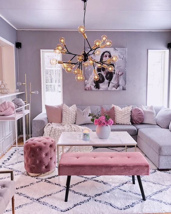Living Room Pink Ideas: Simply Cute Pink