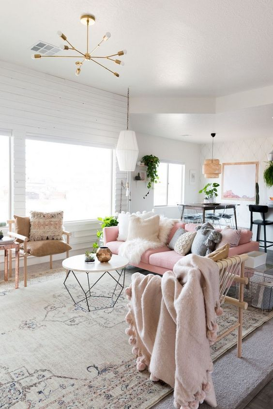 Living Room Pink Ideas: Adorable Blushy Pink