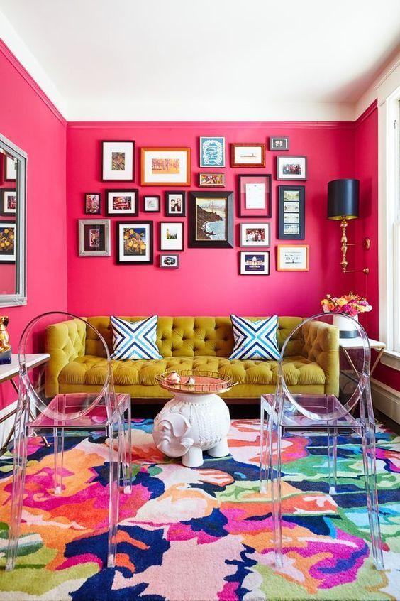 Living Room Pink Ideas: Daring Hot Pink
