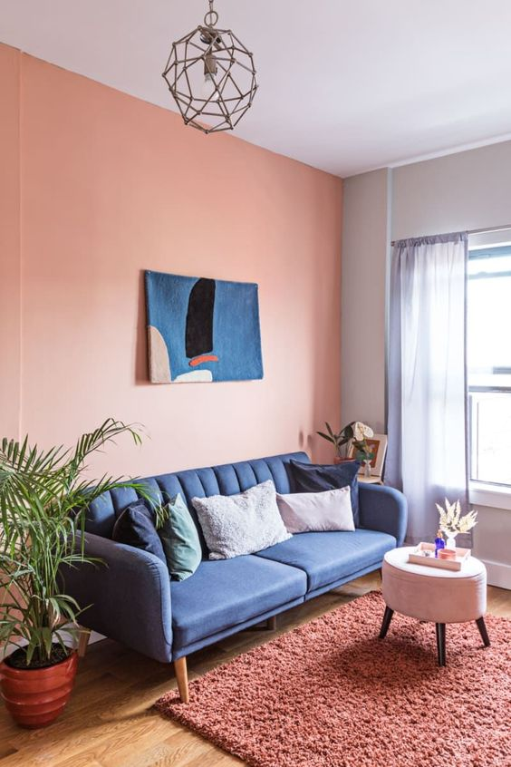 Living Room Pink Ideas: Charming Pink-Navy