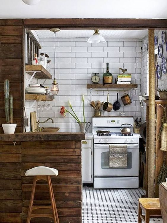 Tiny Kitchen Ideas: Pretty Tiny Earthy Spot