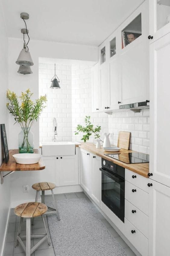 Tiny Kitchen Ideas: Elegant White L Shape