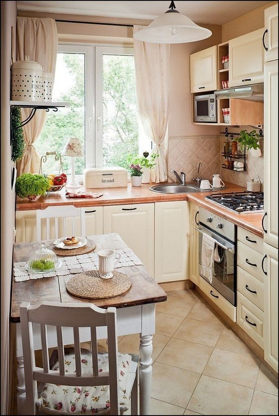 Tiny Kitchen Ideas: Prettily Bright Beige Kitchen