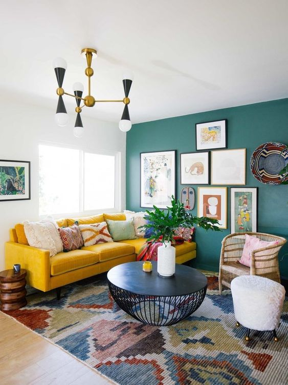 Living Room Yellow Ideas: Chic Rustic Bohemian