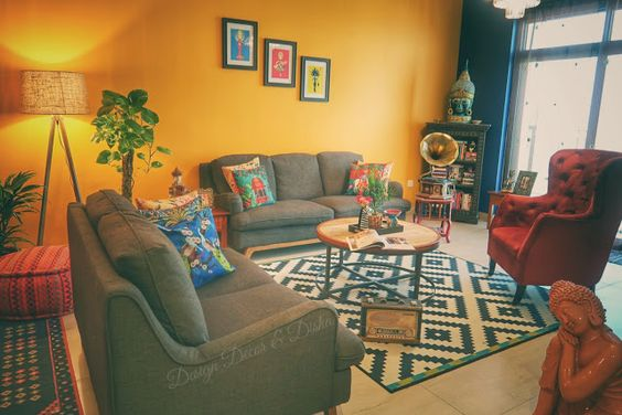 yellow living room feature