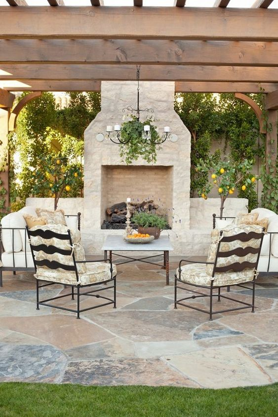 Backyard Fireplace Ideas: An Elegant All-White