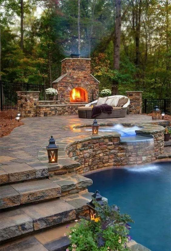 backyard fireplace ideas 7
