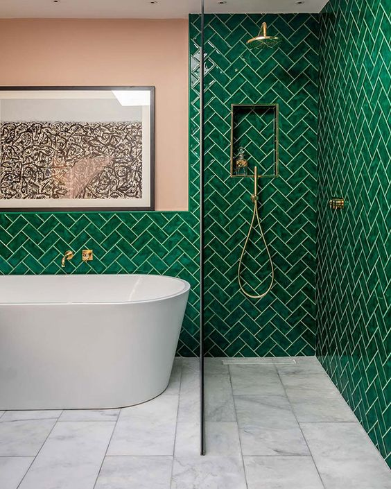 Green Bathroom Ideas: Add Texture and Pattern