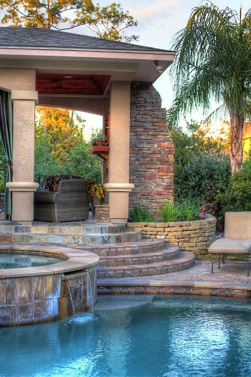 Hot Tub Backyard: Earthy Gazebo