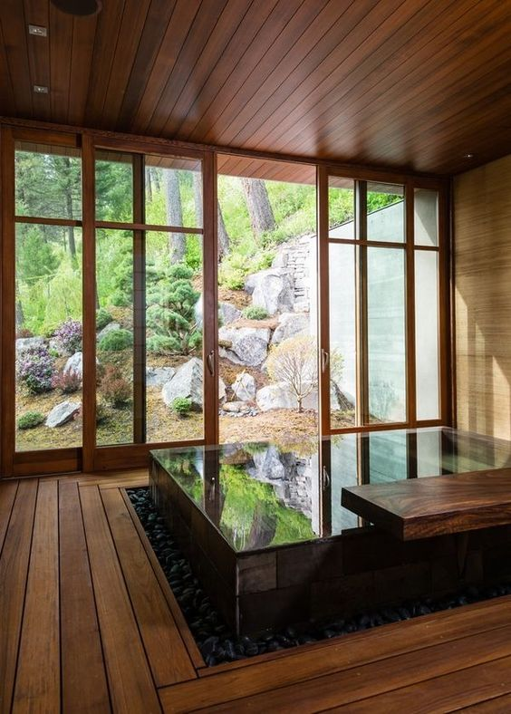 Small Hot Tub: Relaxing Wooden Room