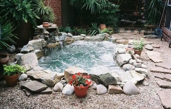 stone hot tub feature