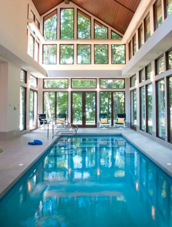 Swimming Pool Indoor Ideas: Clear and Bright Pool