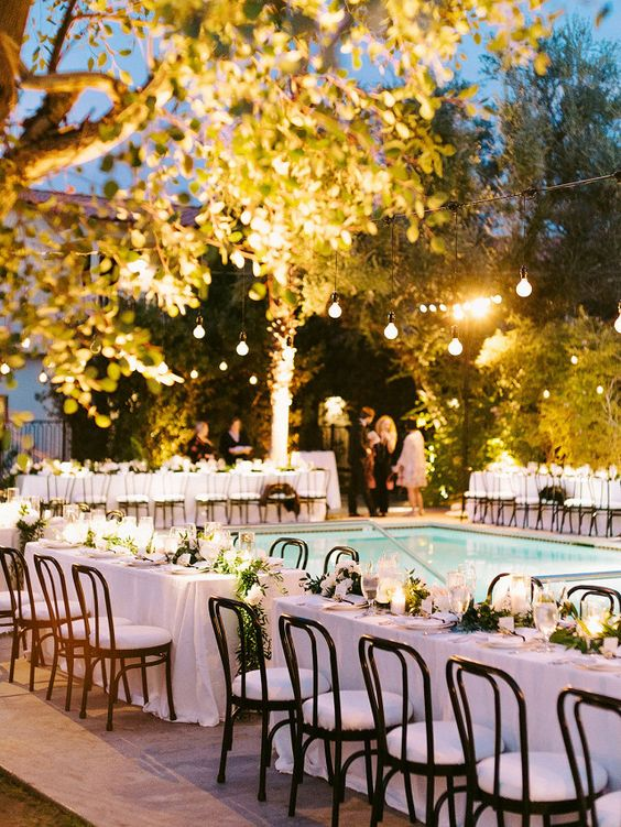 Swimming Pool Party Ideas: All-White Seating Area