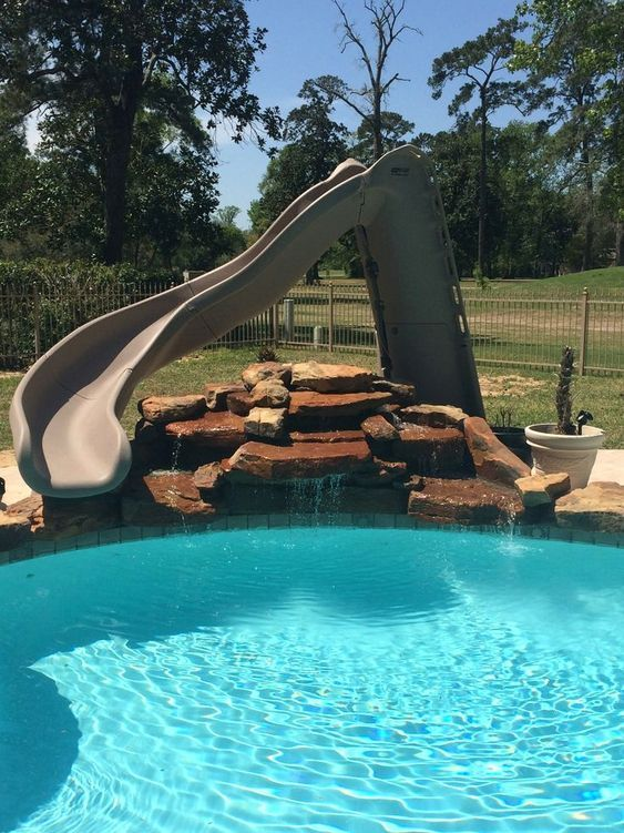 swimming pool with slides ideas 11