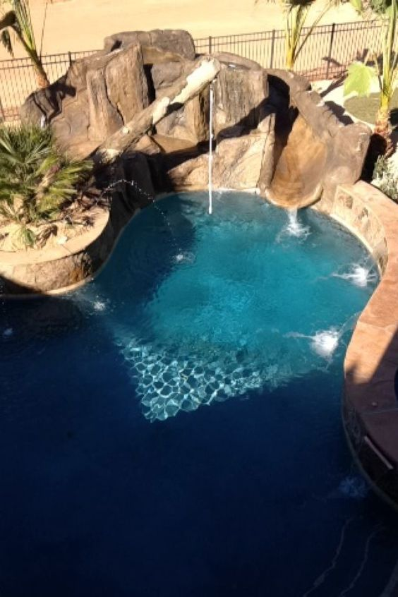 swimming pool with slides ideas 18