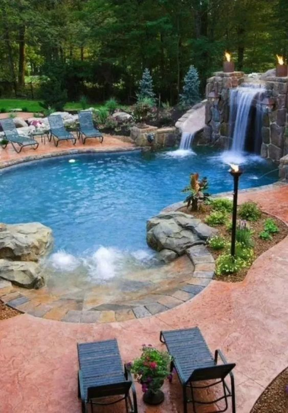 swimming pool with slides ideas 19