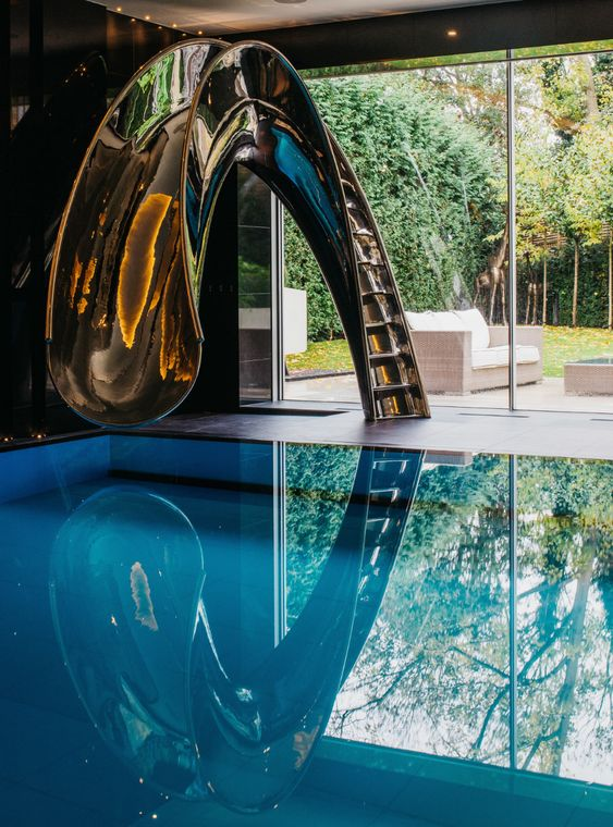 swimming pool with slides ideas 21