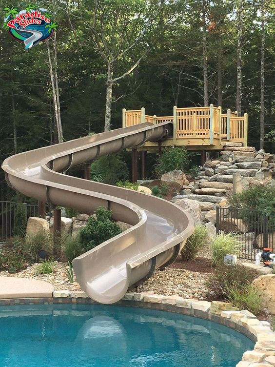 swimming pool with slides ideas 22