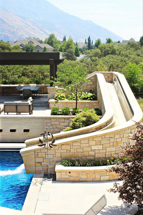 Swimming Pools With Slides: Earthy Slide