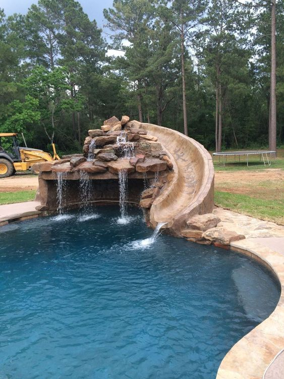 swimming pool with slides ideas 6