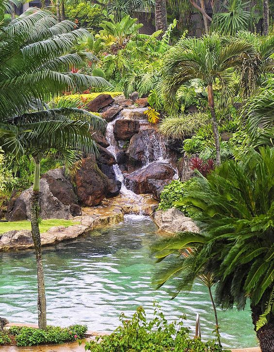 Swimming Pool with Waterfalls Ideas: Naturally Fresh Area