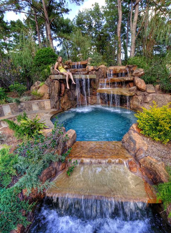 Swimming Pool with Waterfalls Ideas: Multiple Tiered Style