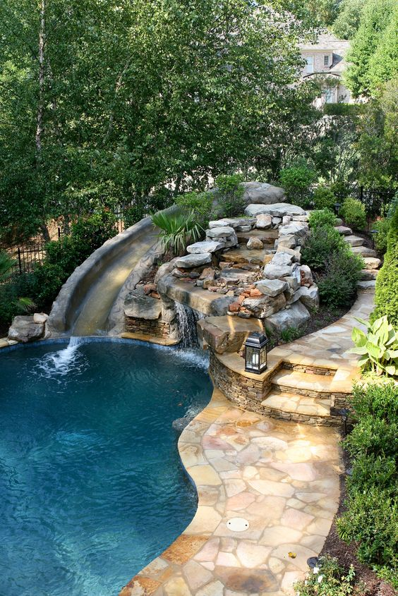 swimming pool with waterfalls ideas 14