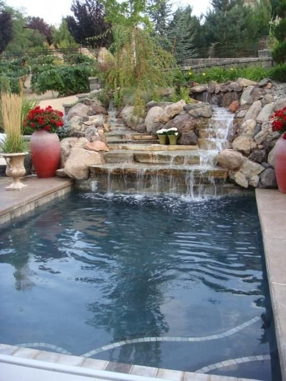 swimming pool with waterfalls ideas 16