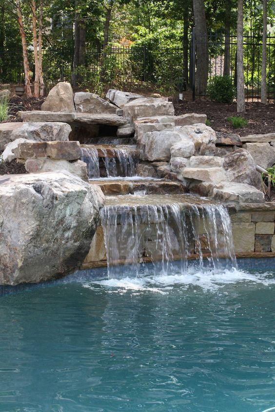 swimming pool with waterfalls ideas 17