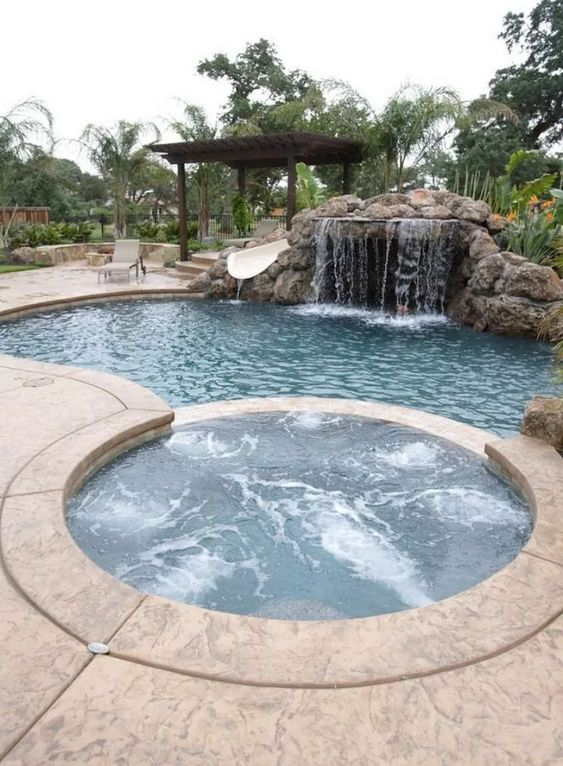 Swimming Pool with Waterfalls Ideas: Stunning Waterfall