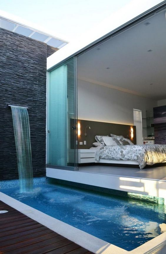 swimming pool with waterfalls ideas 20