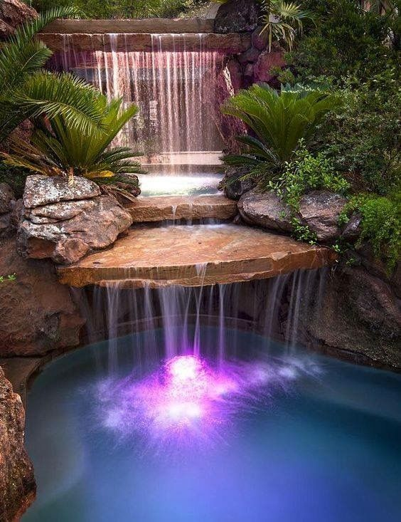swimming pool with waterfalls ideas 23