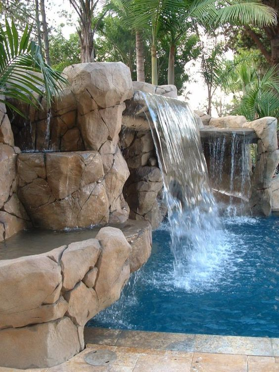swimming pool with waterfalls ideas 25