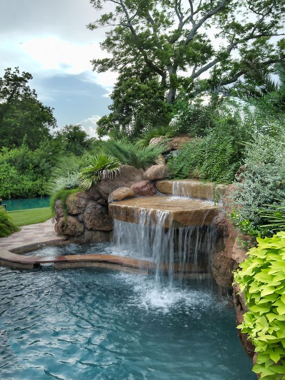 Swimming Pool with Waterfalls Ideas: Dazzling Waterfall