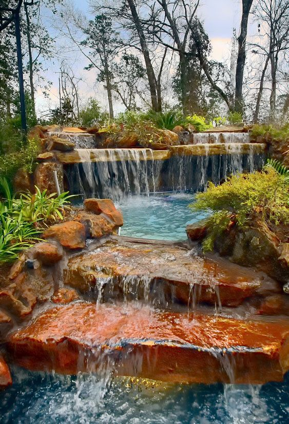 Swimming Pool with Waterfalls Ideas: Pleasing Sight