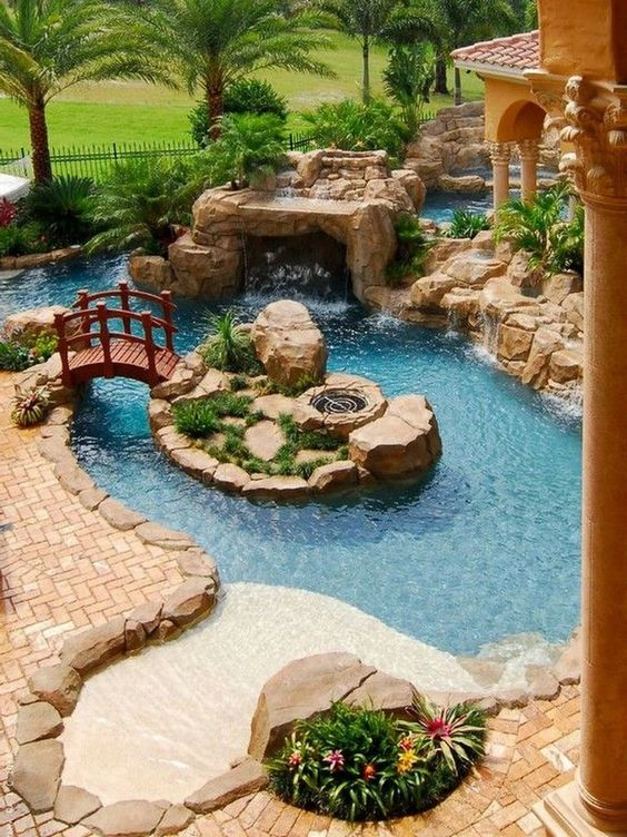 Swimming Pool with Waterfalls Ideas: Fairytale-Like Pool