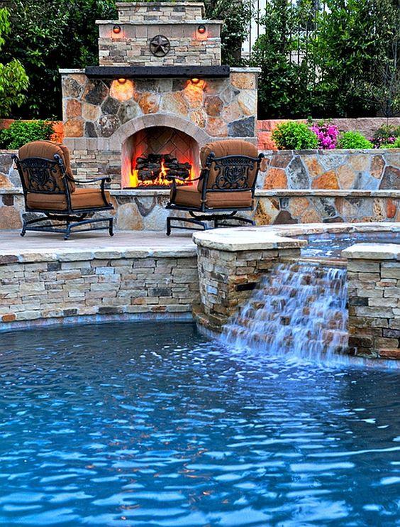 Swimming Pool with Waterfalls Ideas: Simply Mini Waterfall