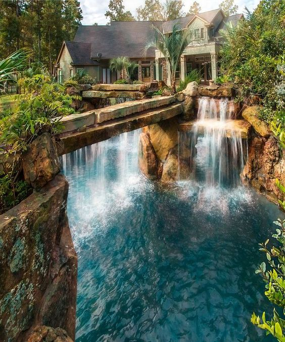 Swimming Pool with Waterfalls Ideas: Gigantic Waterfall